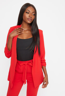 Pointed Ruched Sleeve Blazer