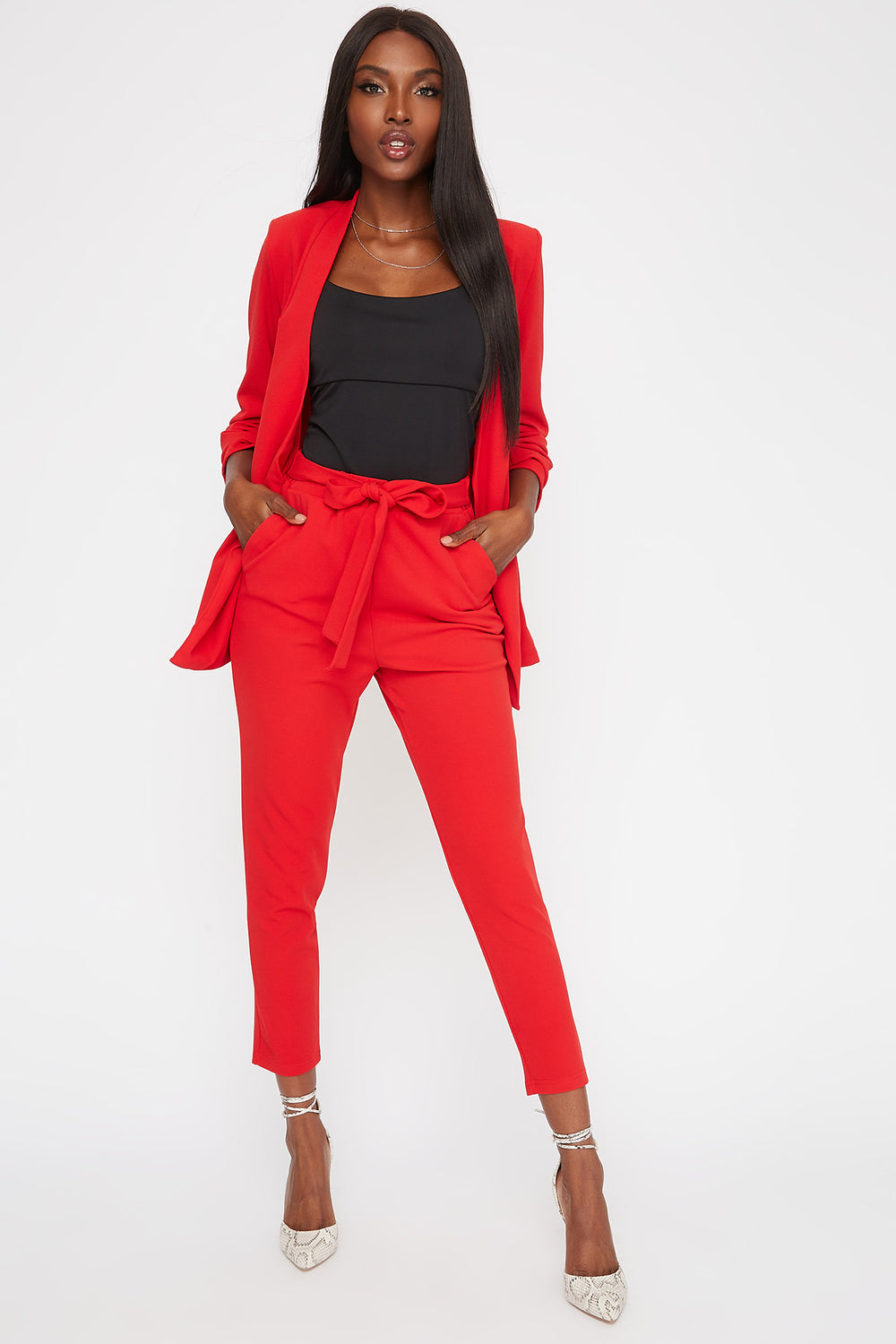 Pointed Ruched Sleeve Blazer Red