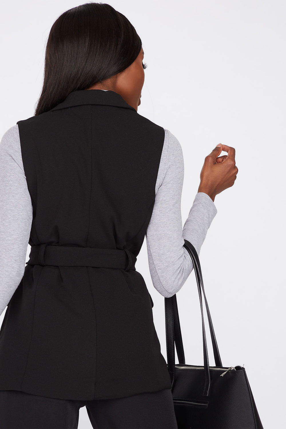 Double Breasted Belted Sleeveless Blazer Black