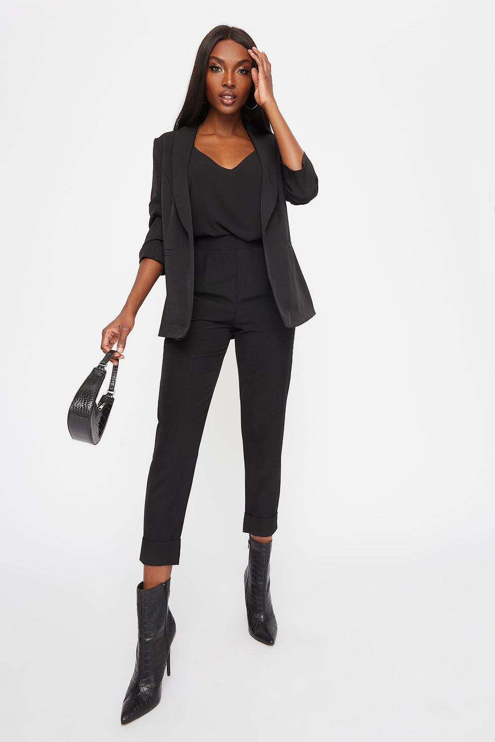 Rounded Ruched Sleeve Blazer Black