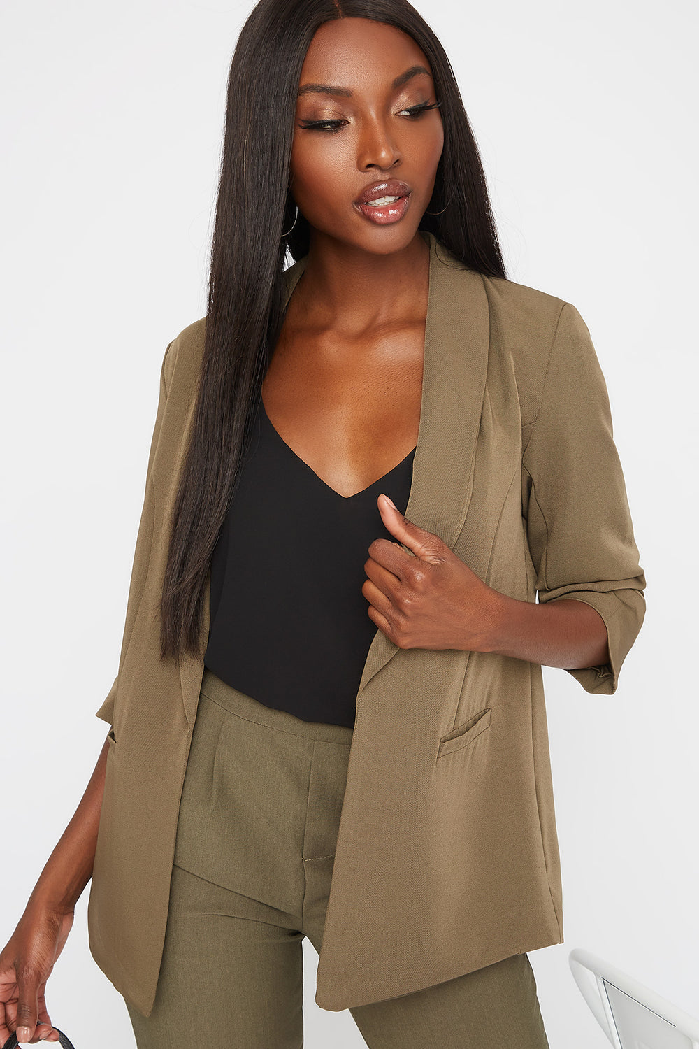 Rounded Ruched Sleeve Blazer Dark Green
