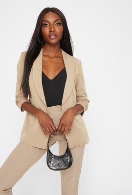 Rounded Ruched Sleeve Blazer