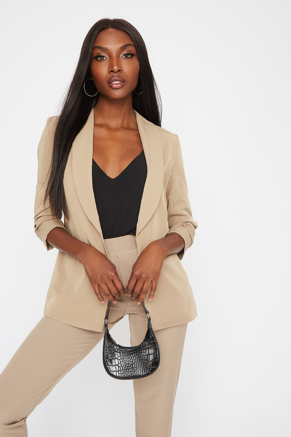 Rounded Ruched Sleeve Blazer Khaki