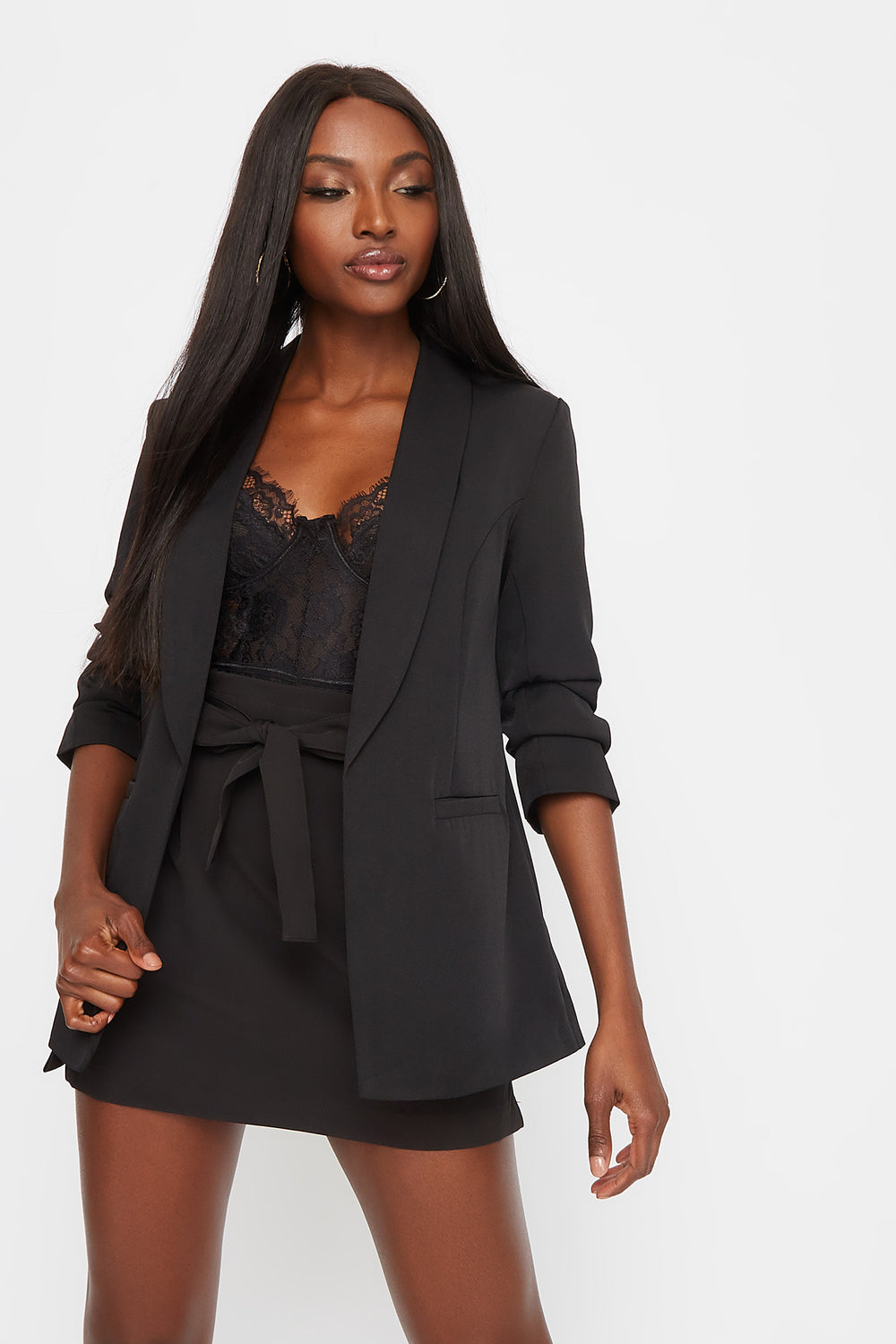 Ruched Sleeve Blazer Black