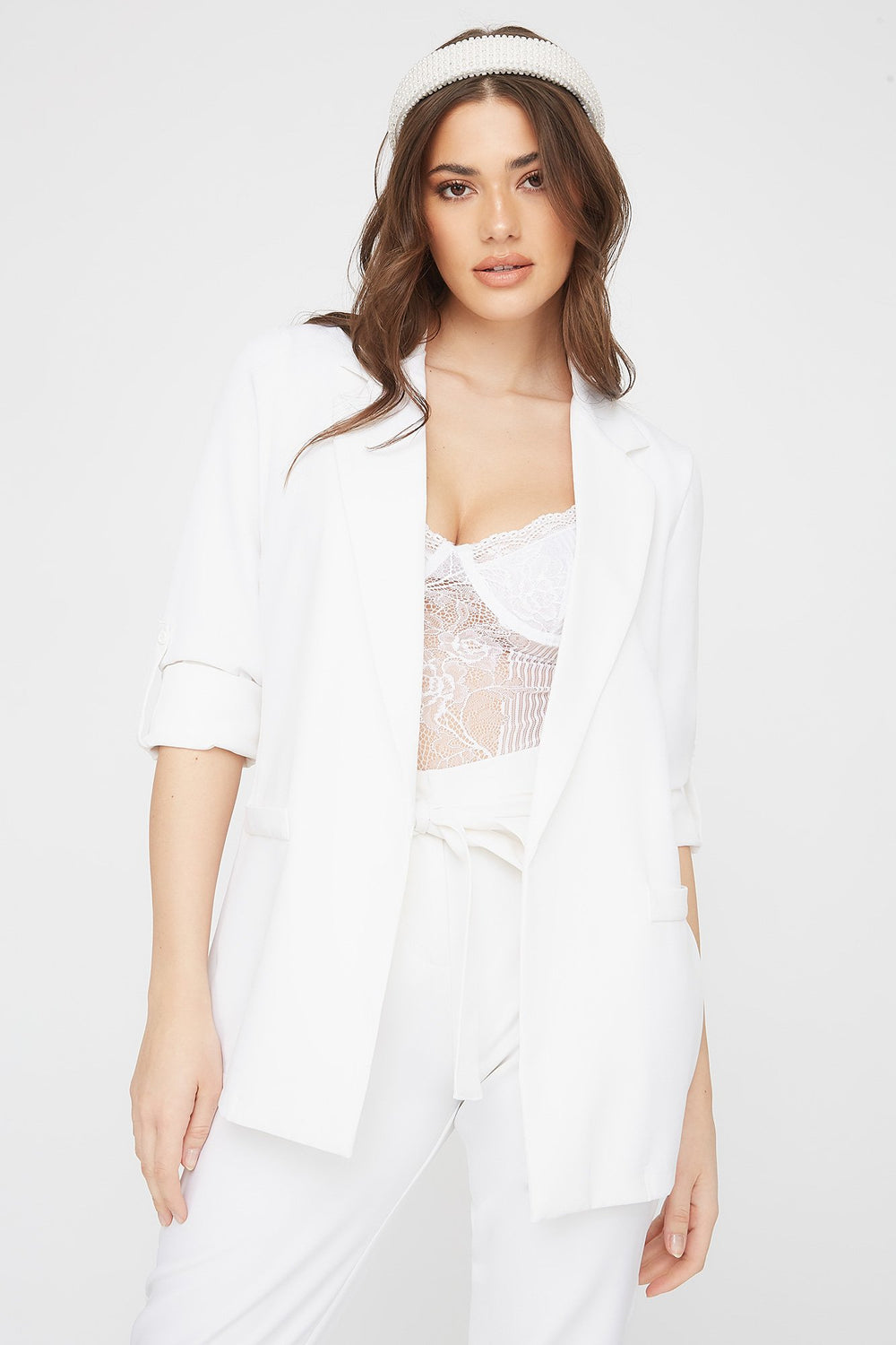 Roll-Tab Open-Front Blazer White
