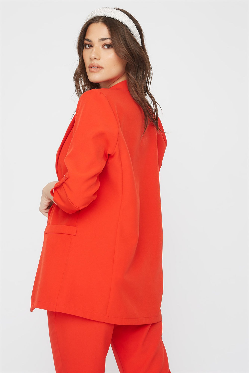 Roll-Tab Open-Front Blazer Red