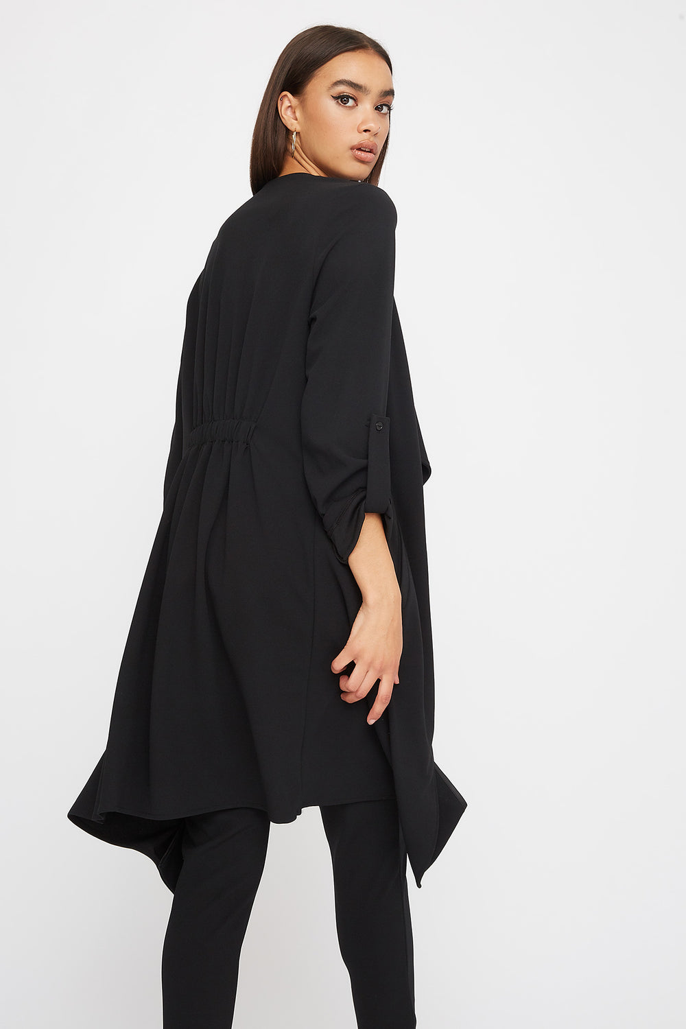 Crepe Waterfall Open-Front Jacket Black