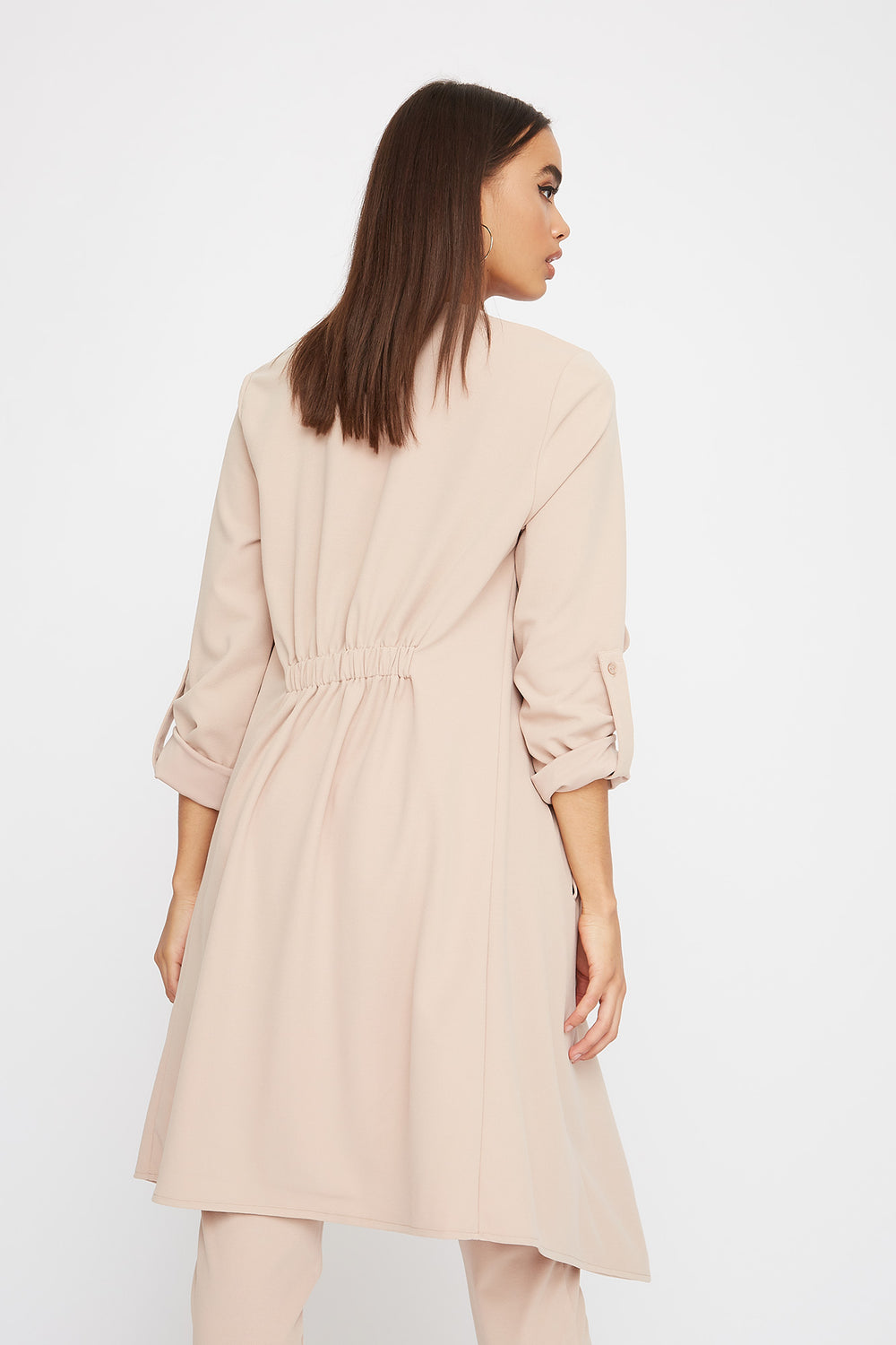 Crepe Waterfall Open-Front Jacket Beige