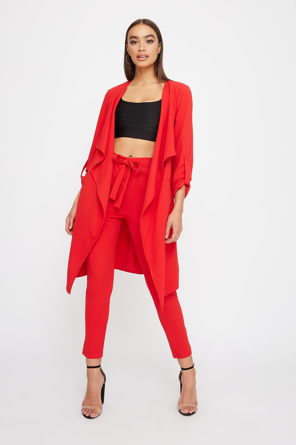 Crepe Waterfall Open-Front Jacket Red