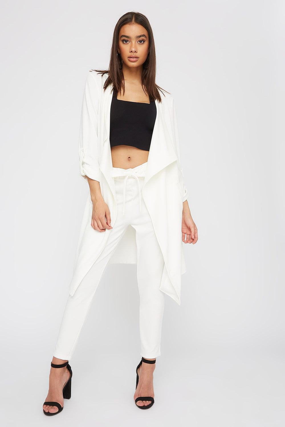 Crepe Waterfall Open-Front Jacket White