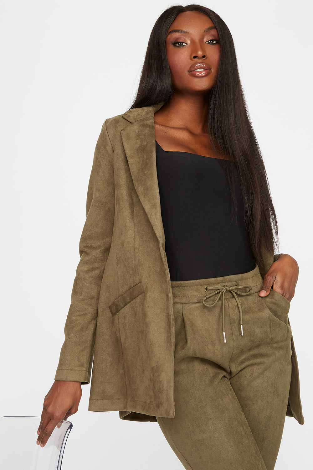 Faux-Suede Blazer Dark Green