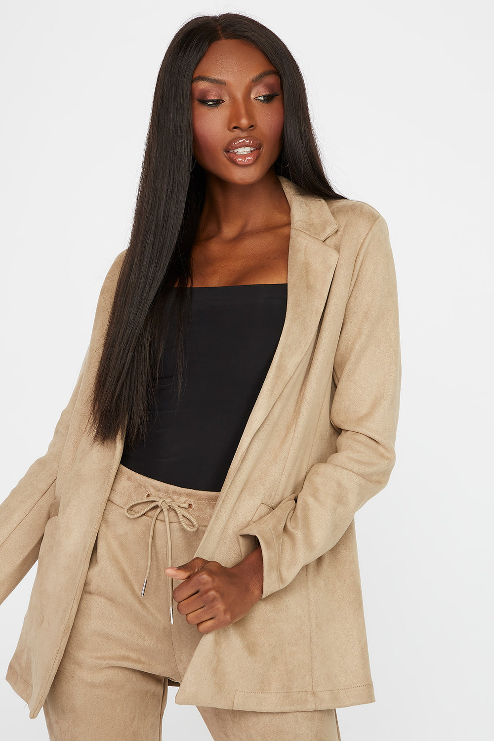 Faux-Suede Blazer Taupe
