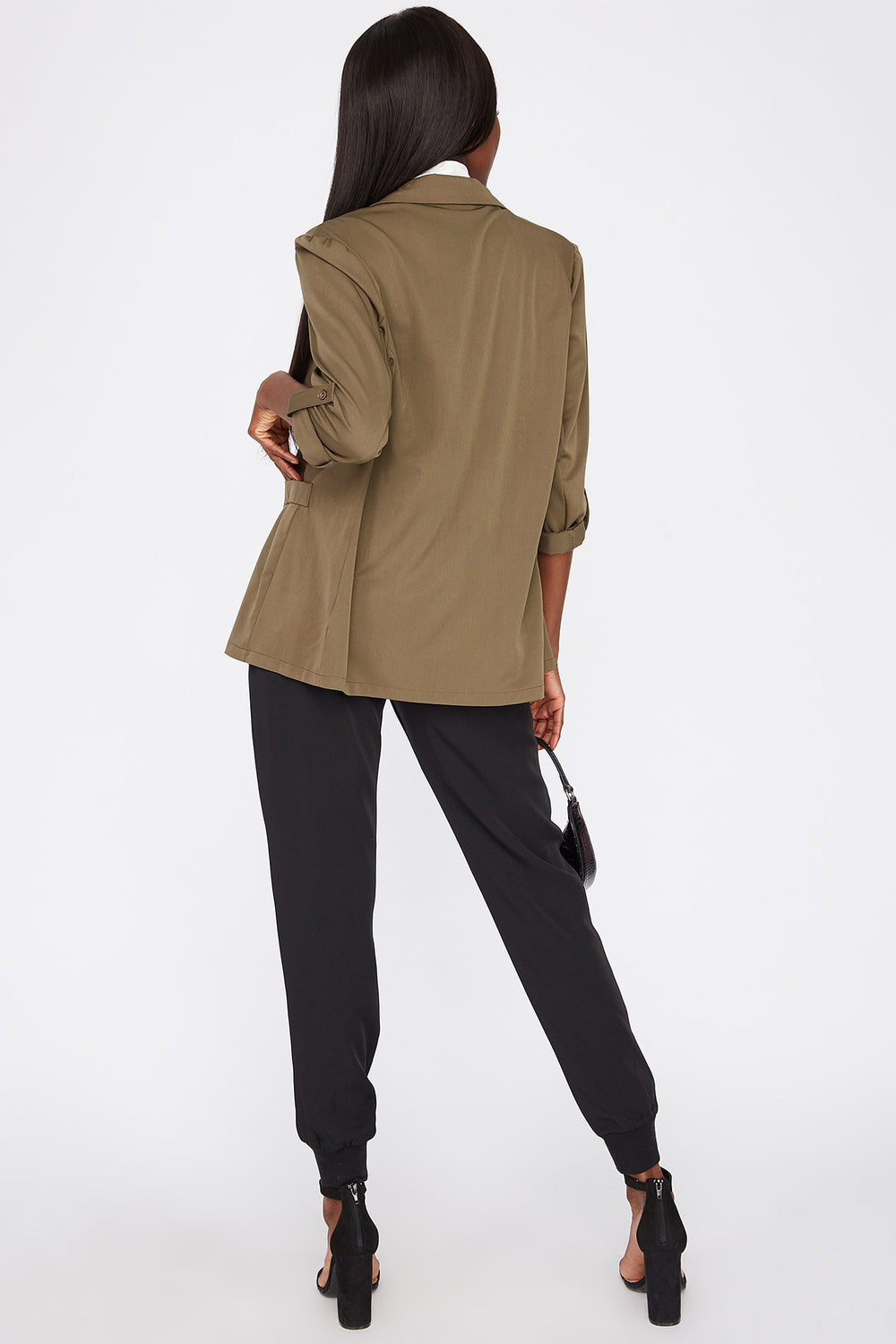 Open-Front Roll-Tab Cuffed Sleeve Blazer Dark Green