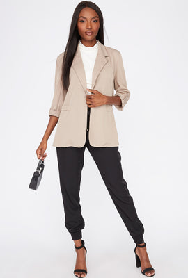 Open-Front Roll-Tab Cuffed Sleeve Blazer