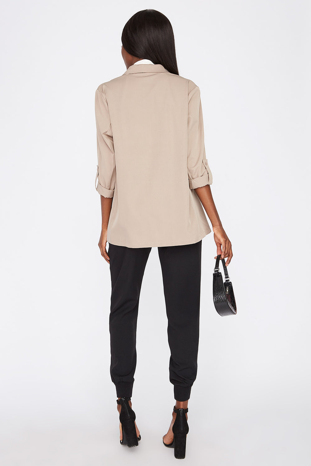 Open-Front Roll-Tab Cuffed Sleeve Blazer Taupe