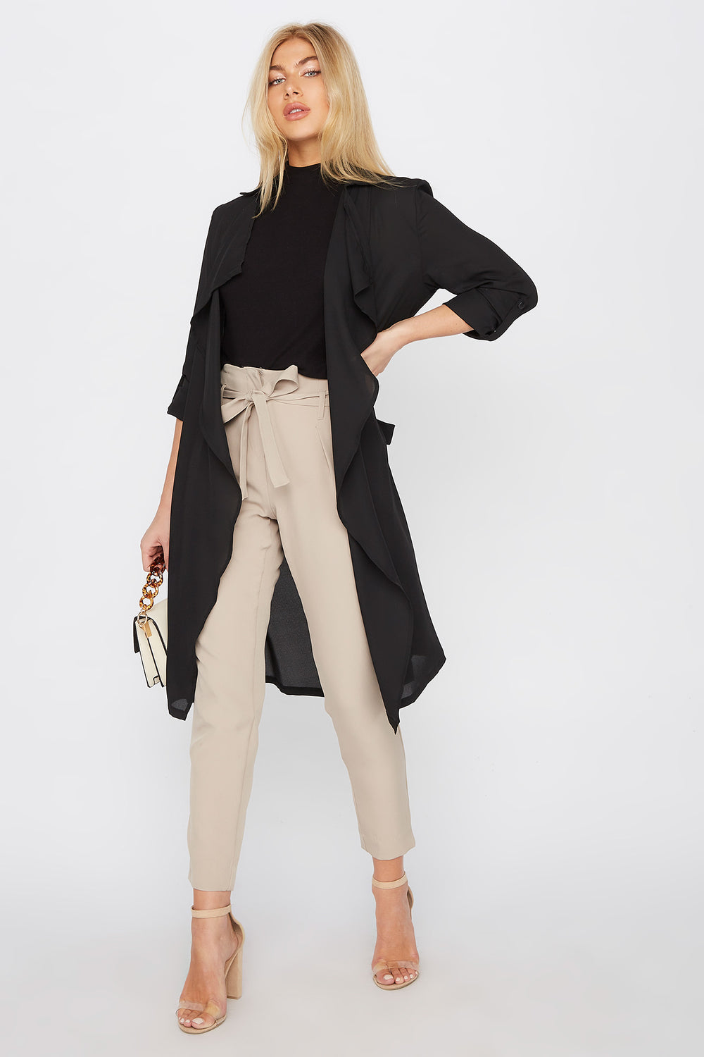 Chiffon Waterfall Trench Jacket Black