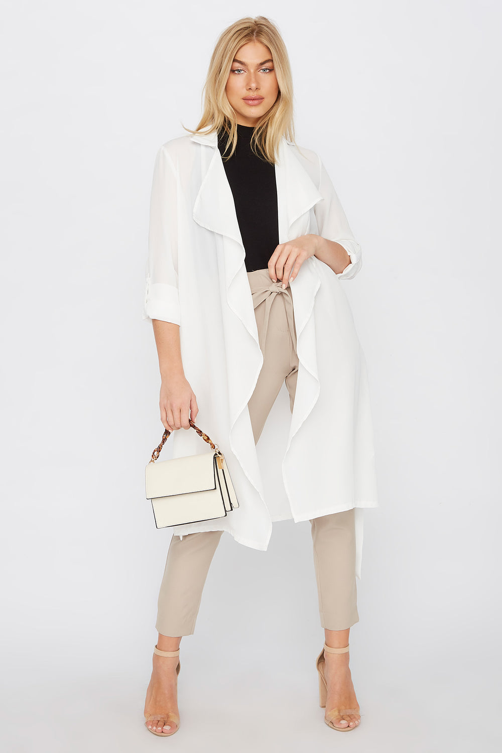Chiffon Waterfall Trench Jacket White