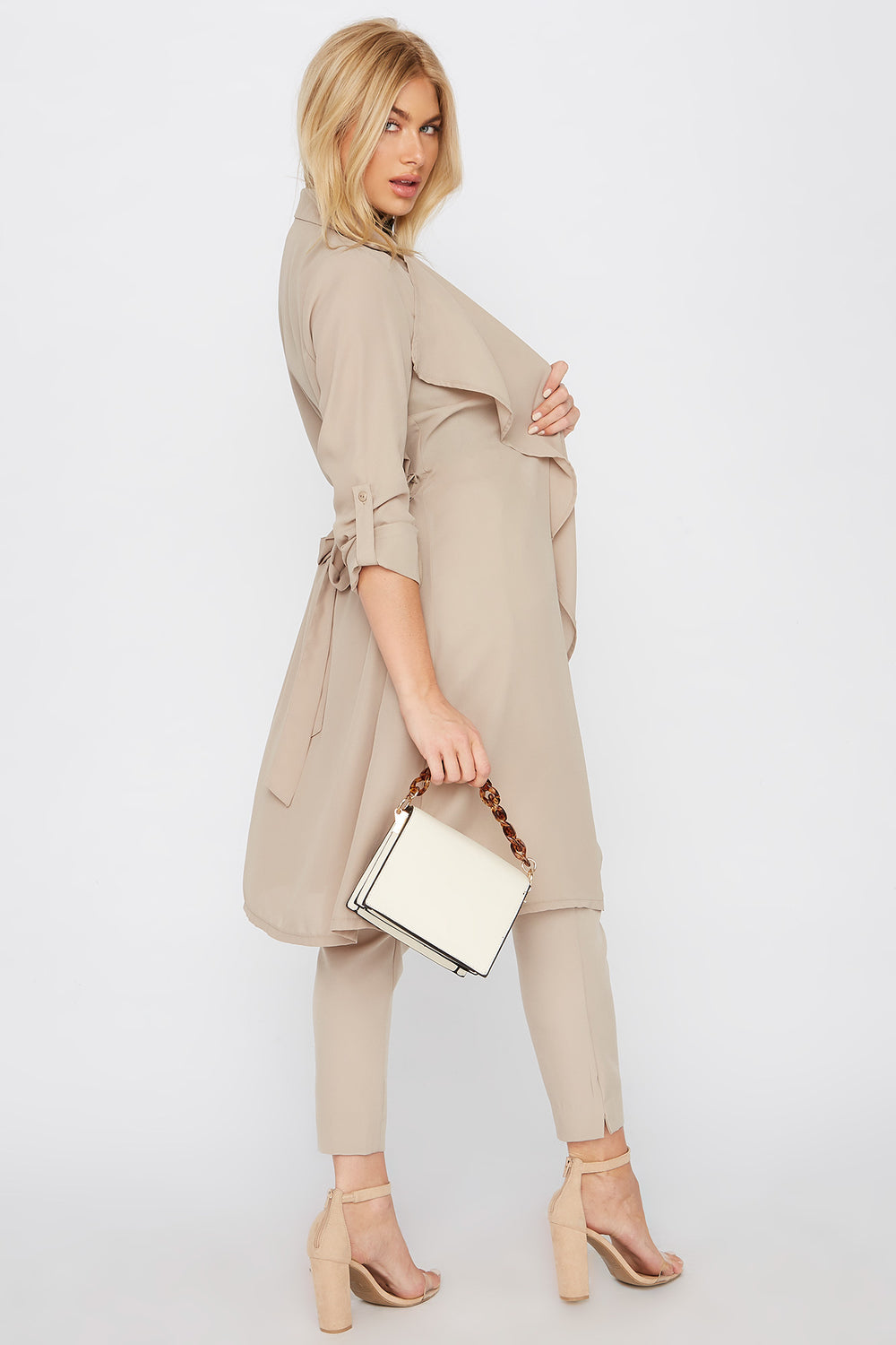 Chiffon Waterfall Trench Jacket Tan