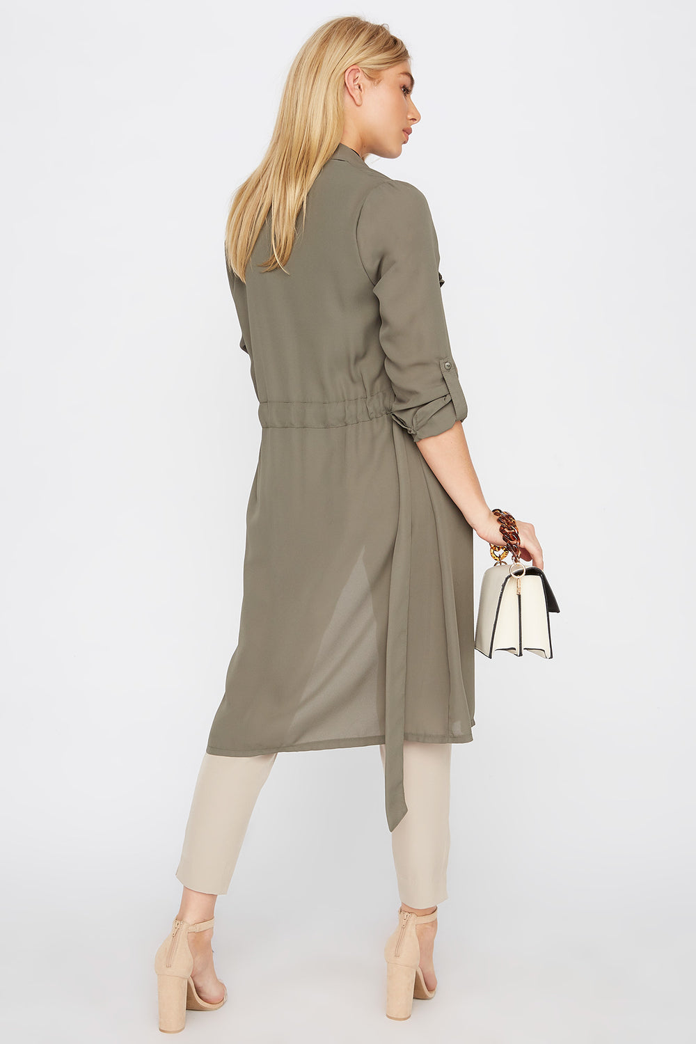 Chiffon Waterfall Trench Jacket Dark Green