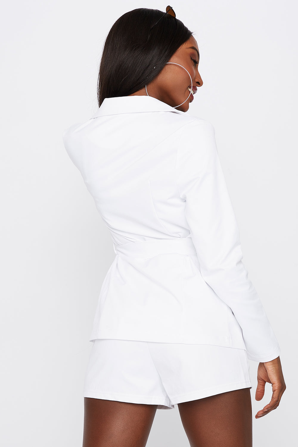 Self-Tie Open-Front Blazer White