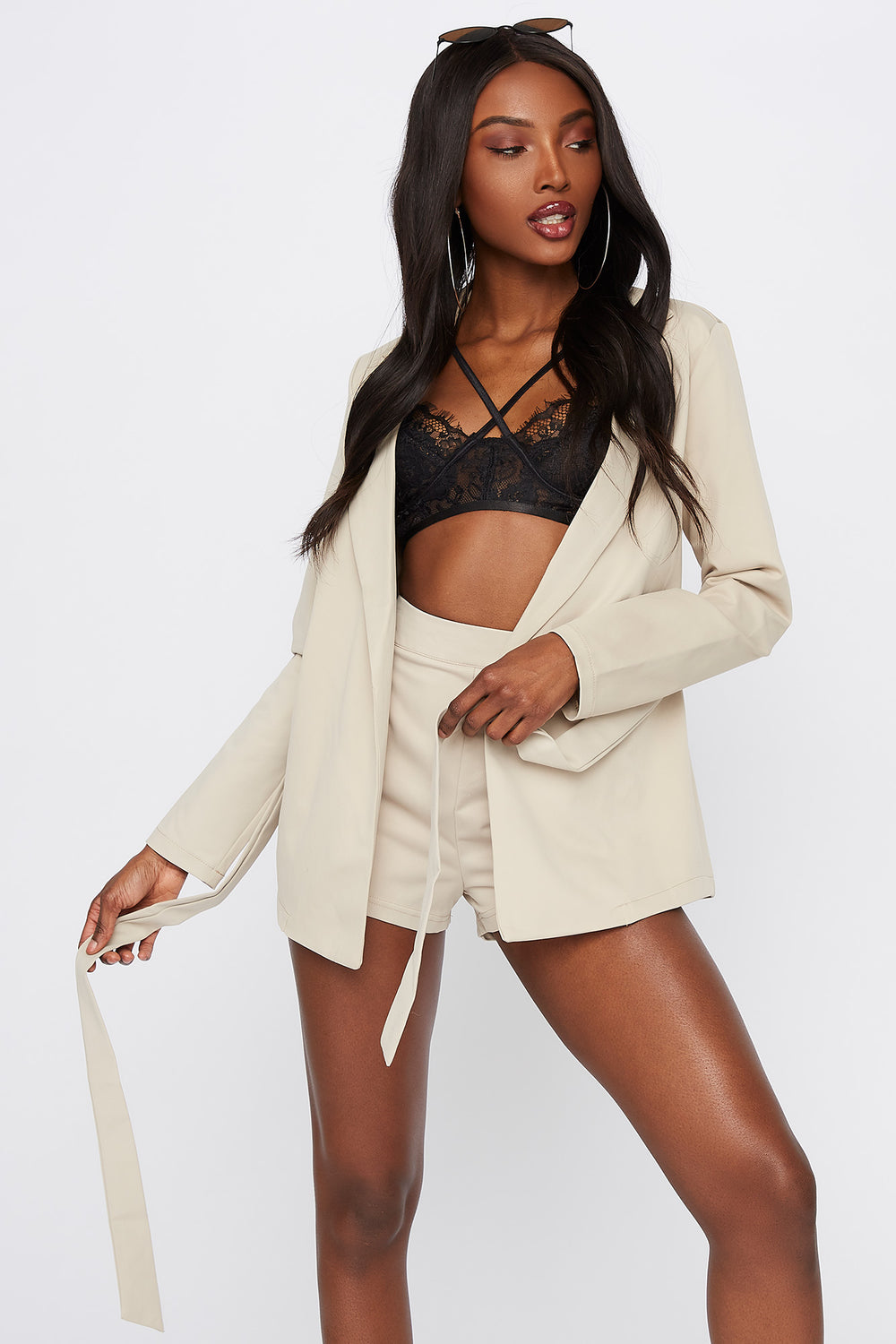 Self-Tie Open-Front Blazer Taupe