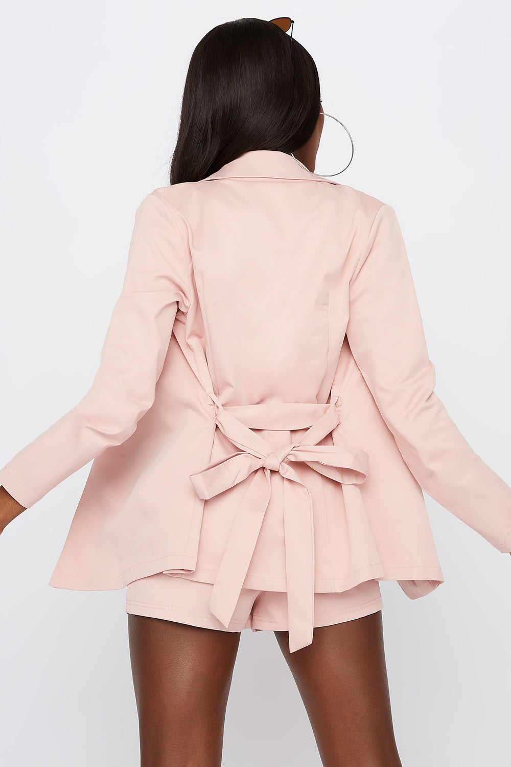 Self-Tie Open-Front Blazer Light Pink