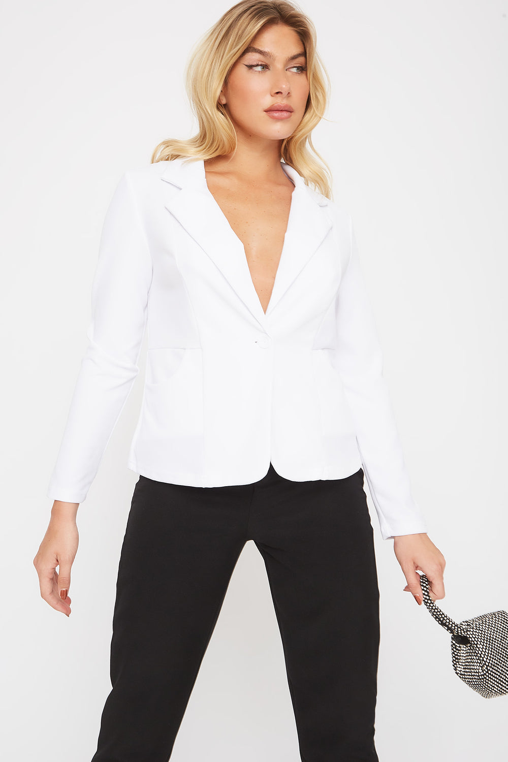 Crepe Single Button Blazer White