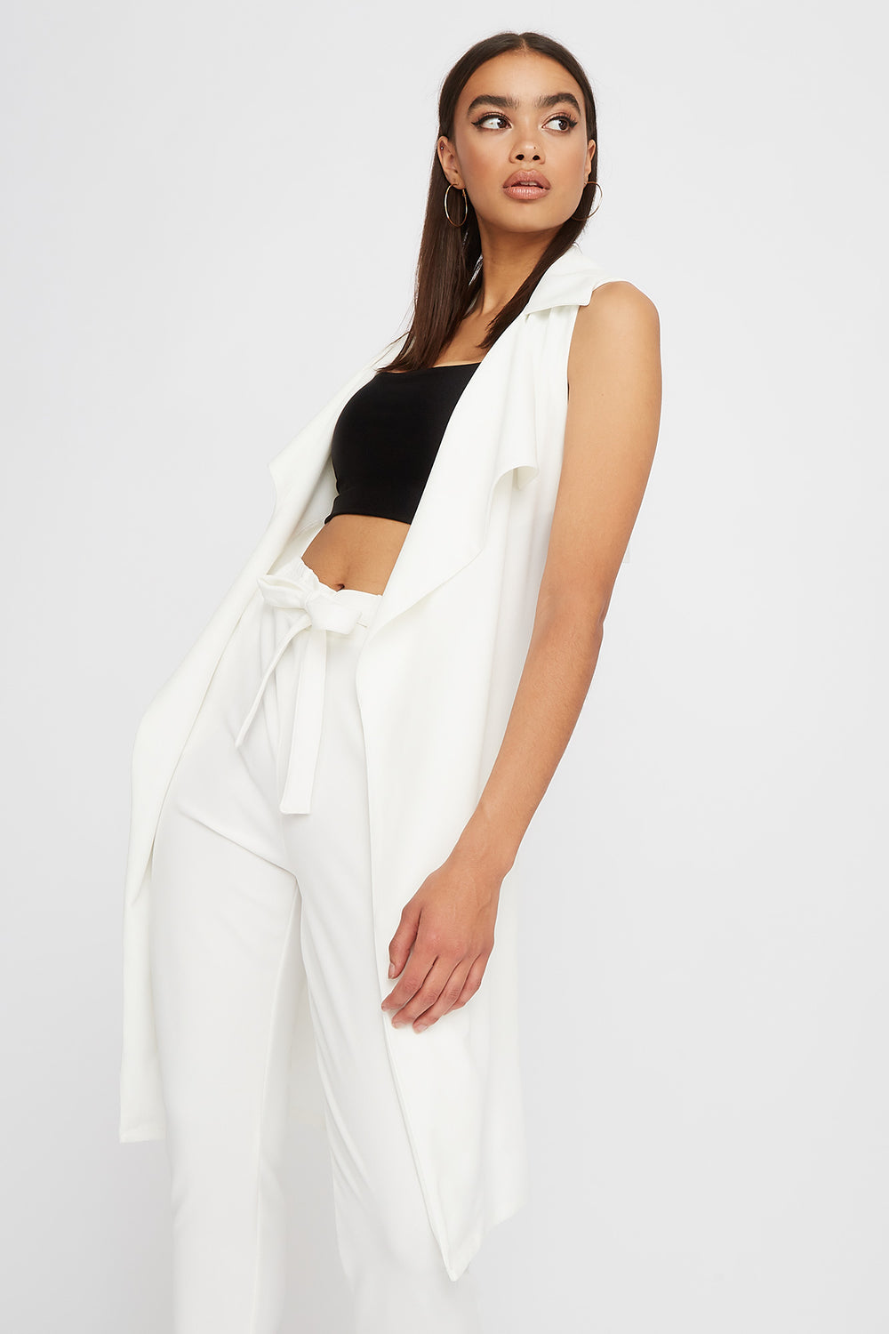 Waterfall Belted Duster Vest Ivory