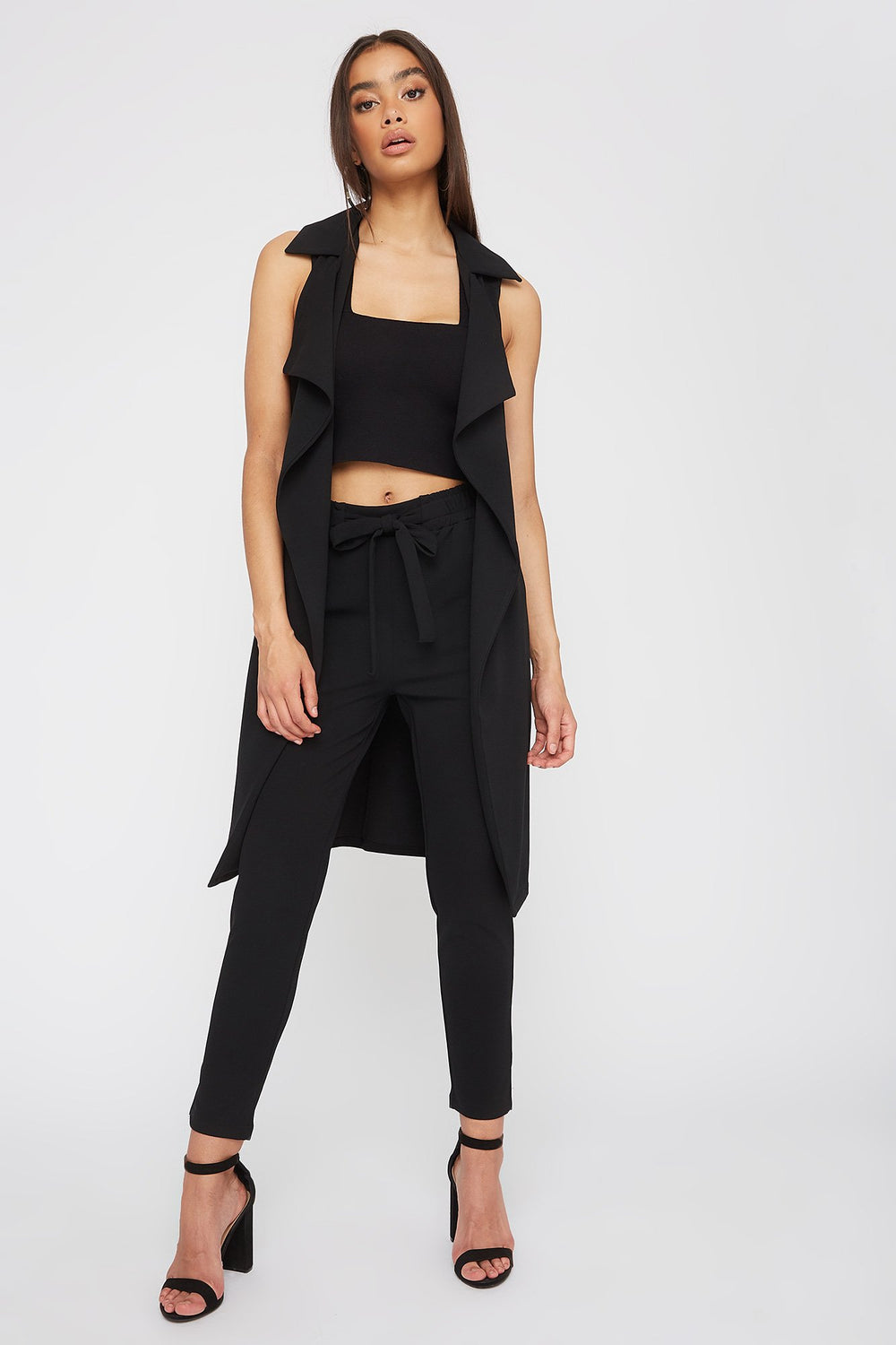 Waterfall Belted Duster Vest Black
