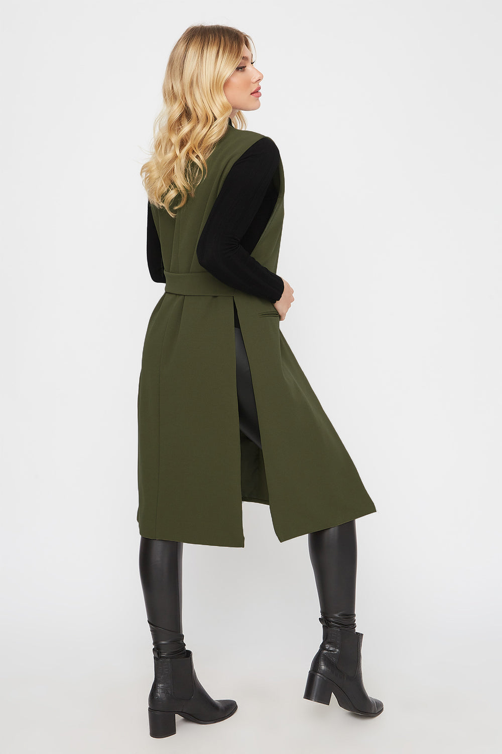 Open-Front Longline Duster Cardigan Dark Green