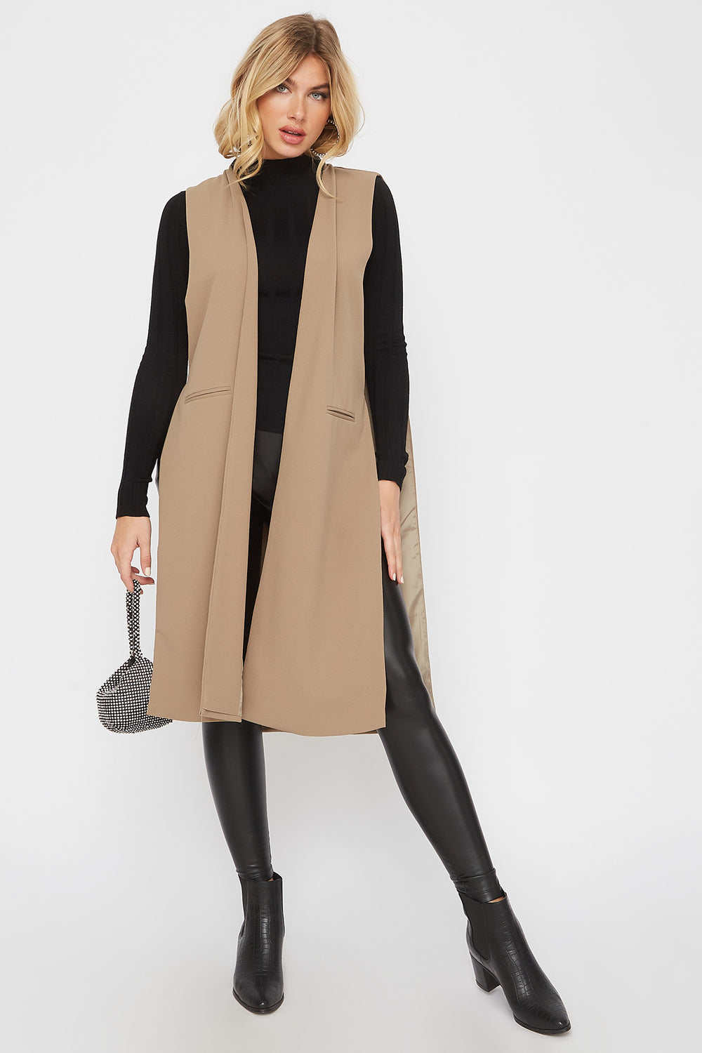 Open-Front Longline Duster Cardigan Taupe