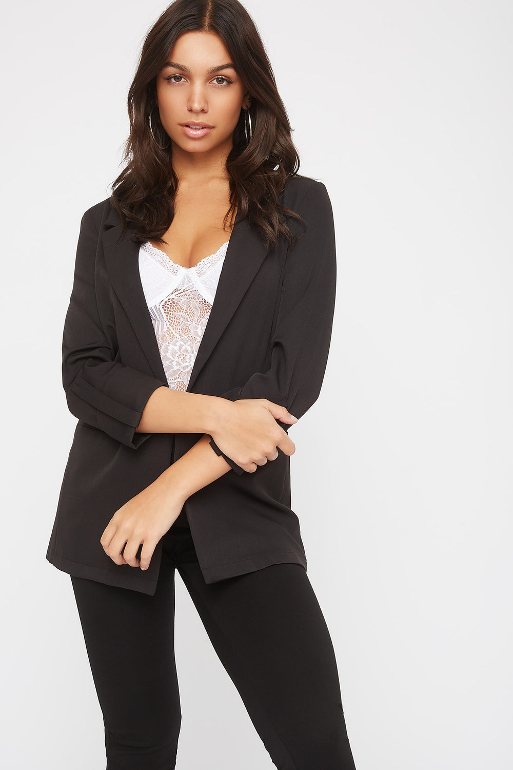 Open-Front Roll Sleeve Blazer Black