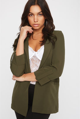 Open-Front Roll Sleeve Blazer