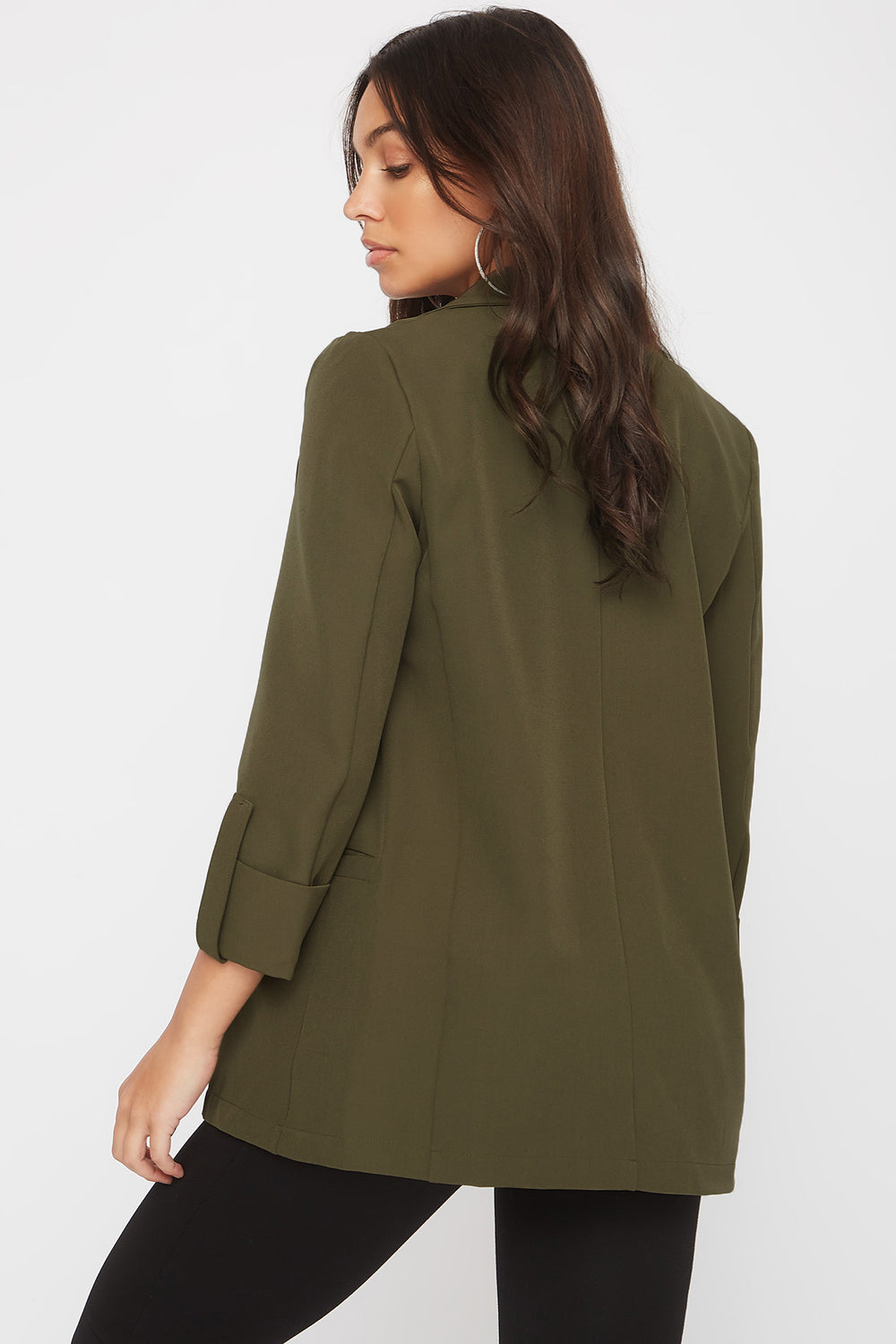 Open-Front Roll Sleeve Blazer Dark Green
