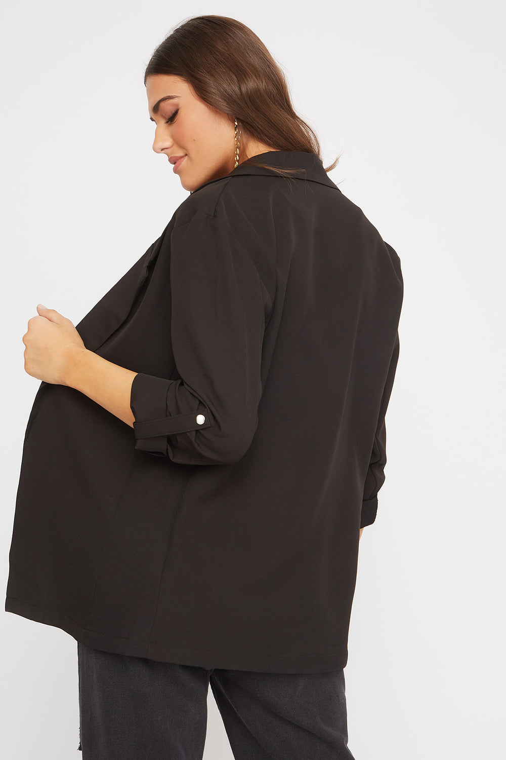 Roll-Tab Open Front Blazer Black