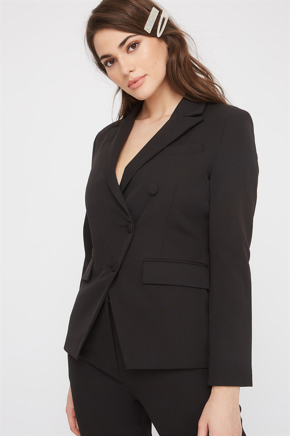 3-Button Single Breasted Blazer Black