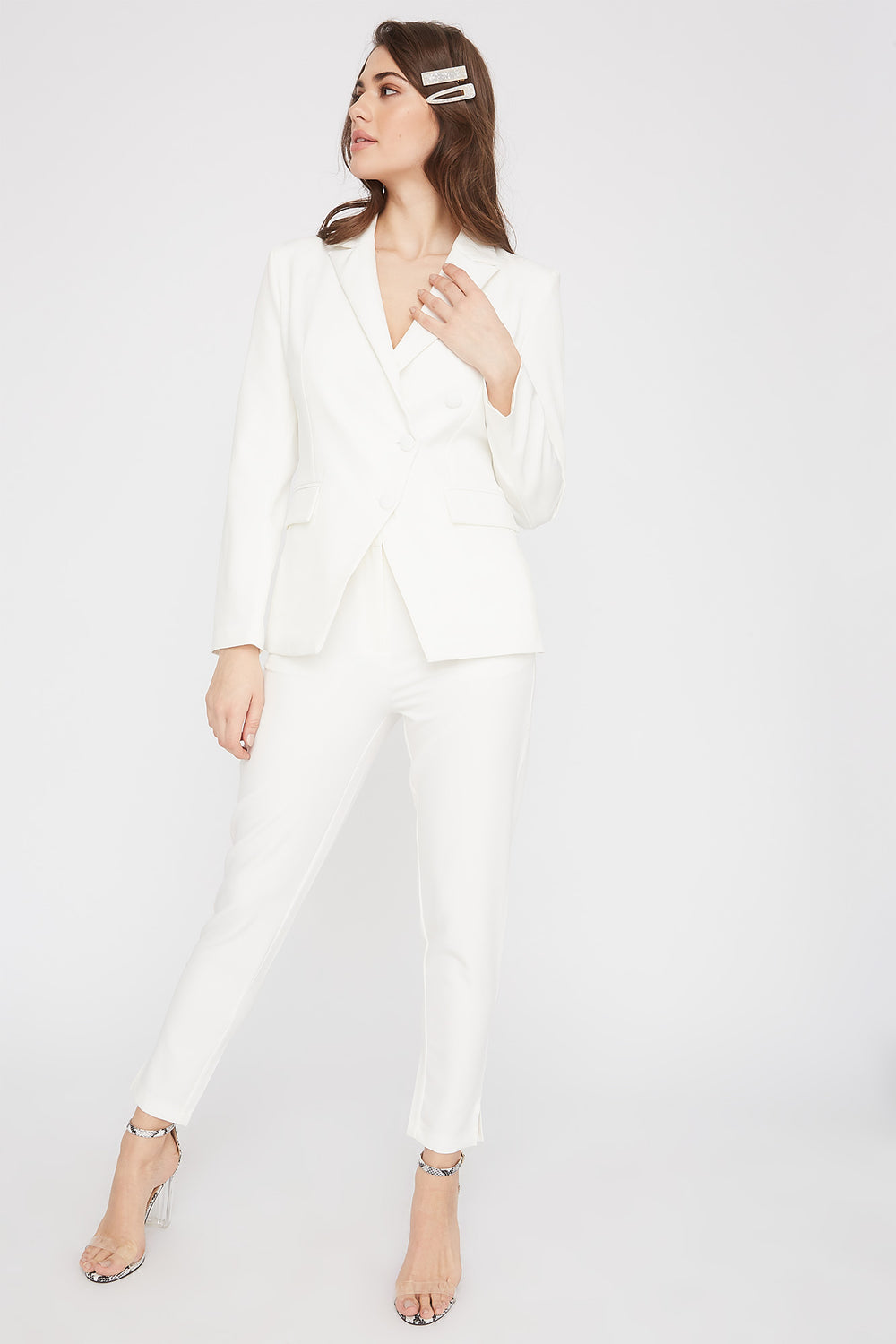 3-Button Single Breasted Blazer White