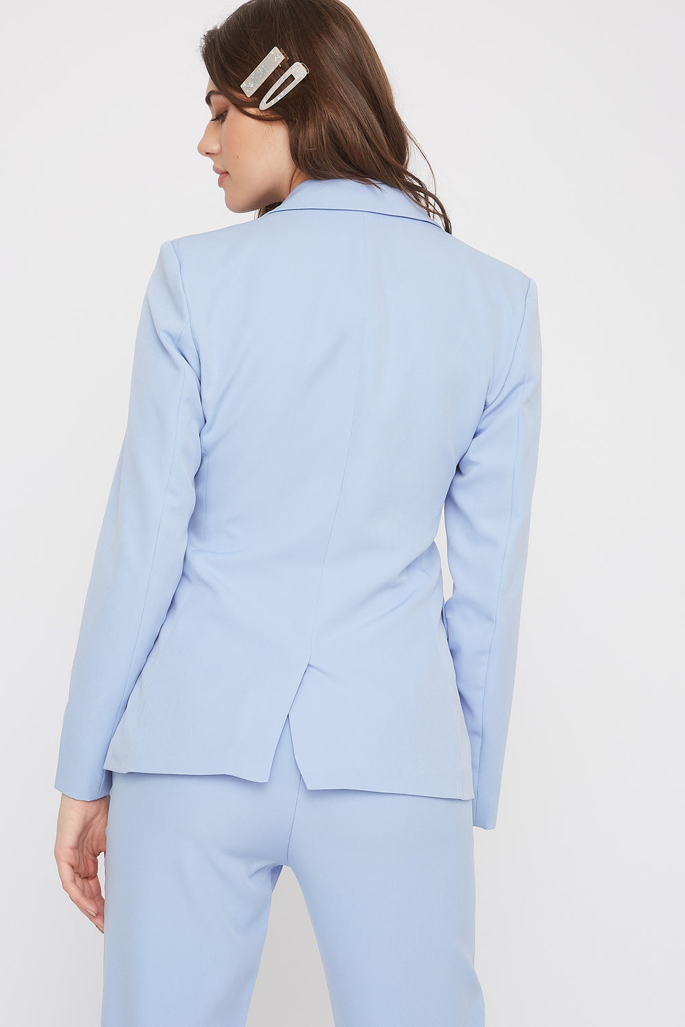 3-Button Single Breasted Blazer Light Blue