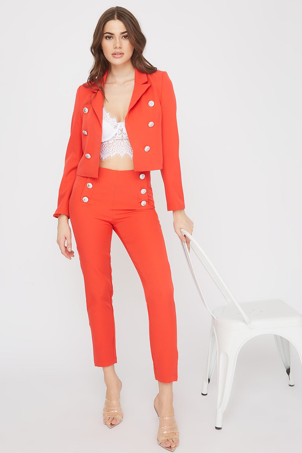 Cropped Button Open-Front Blazer Red