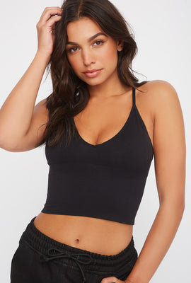 Seamless V-Neck Cropped Tank