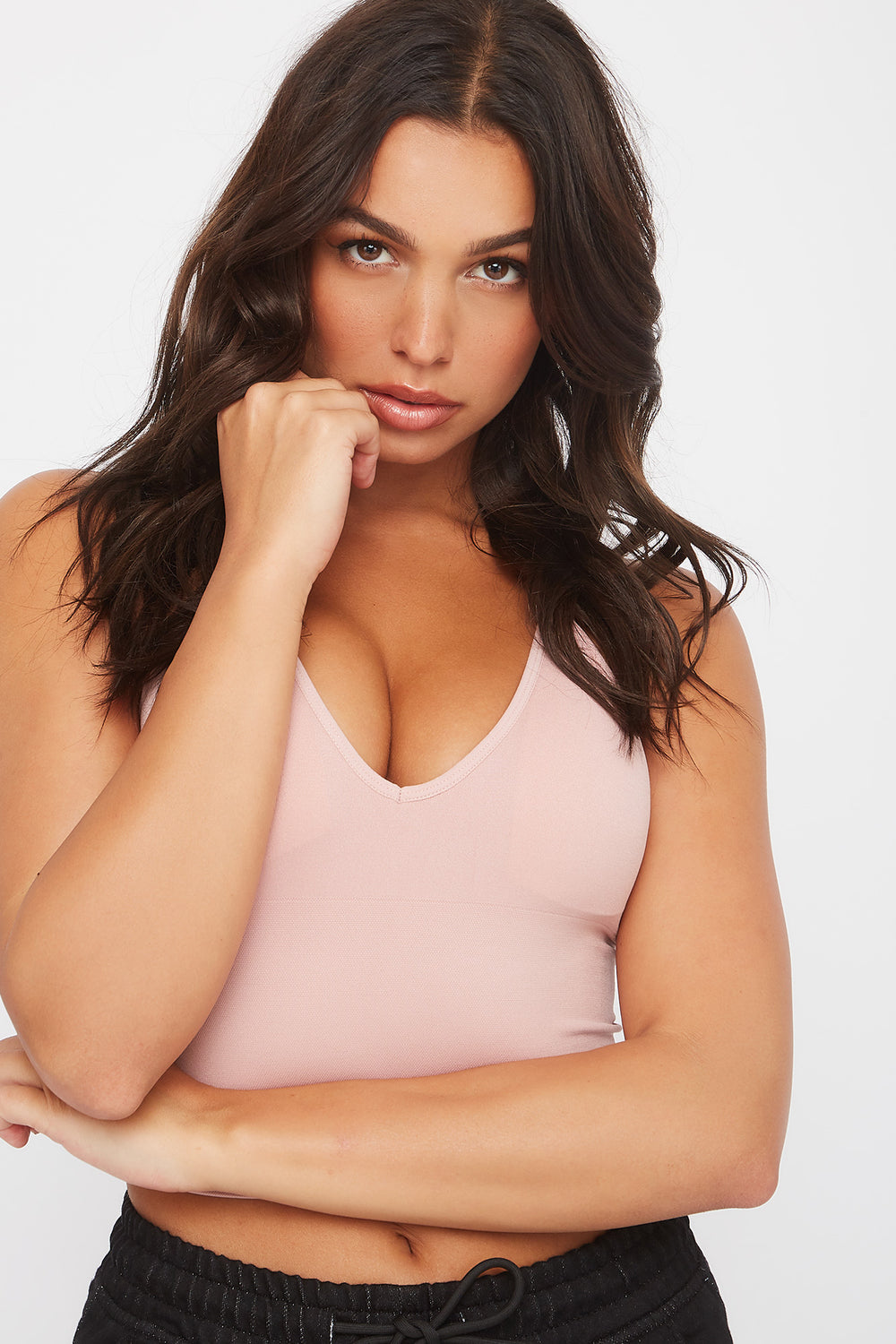 Seamless V-Neck Cropped Tank Dusty Rose