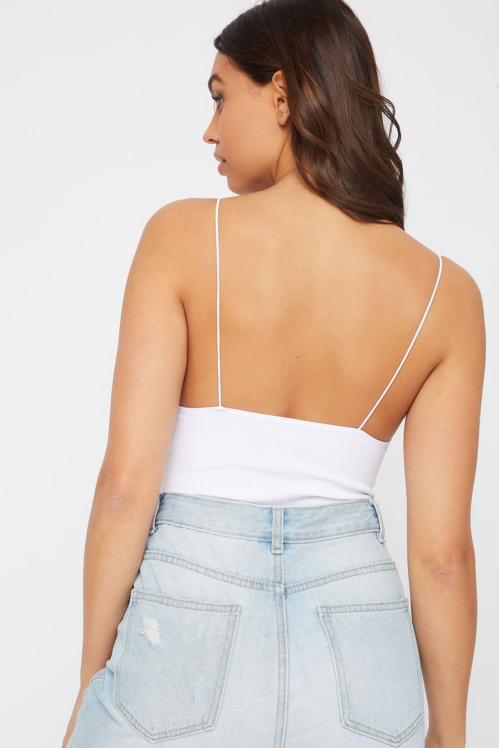 Bungee Ribbed Bodysuit White