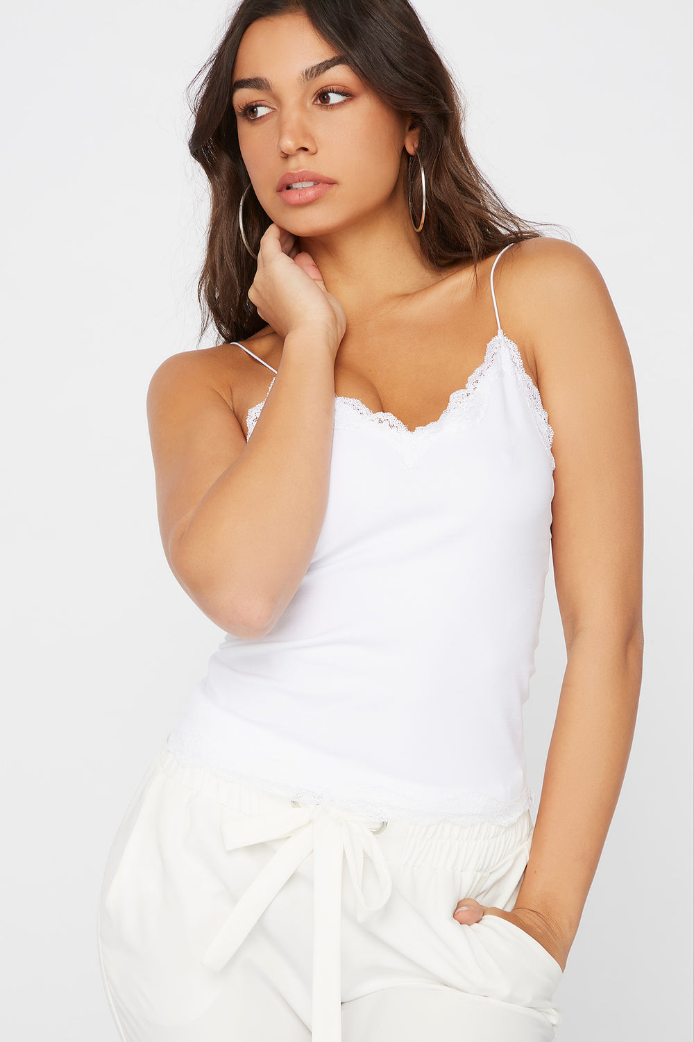 Lace Trim Camisole White