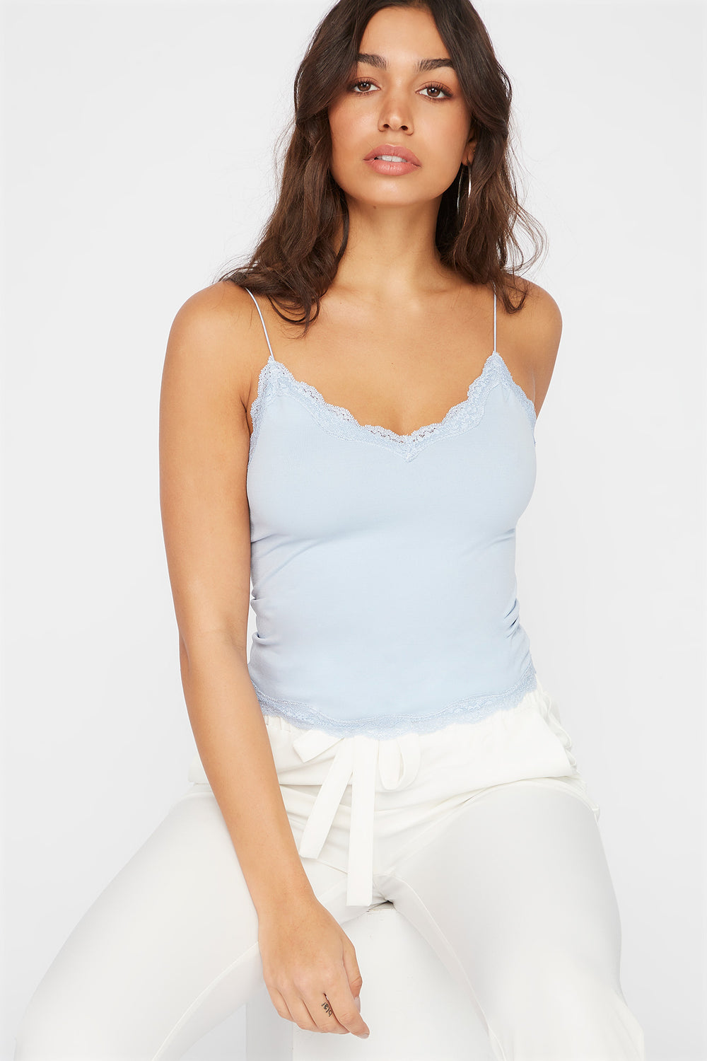 Lace Trim Camisole Light Blue