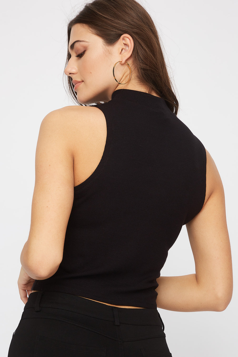 Sleeveless Ribbed Mock Neck Top Black