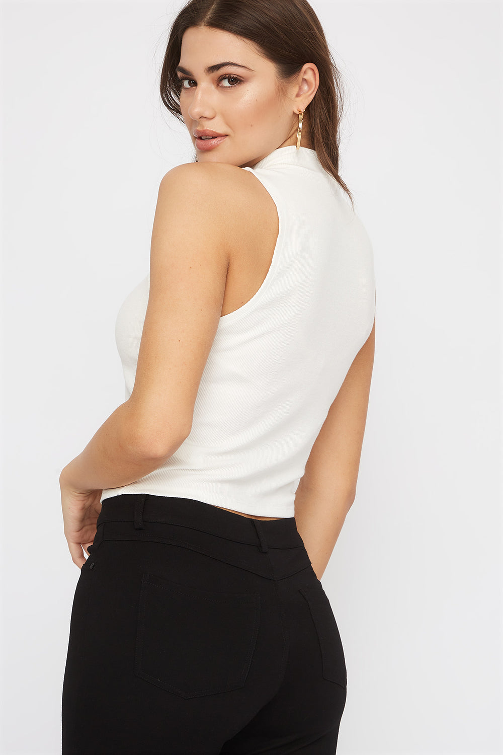 Sleeveless Ribbed Mock Neck Top White