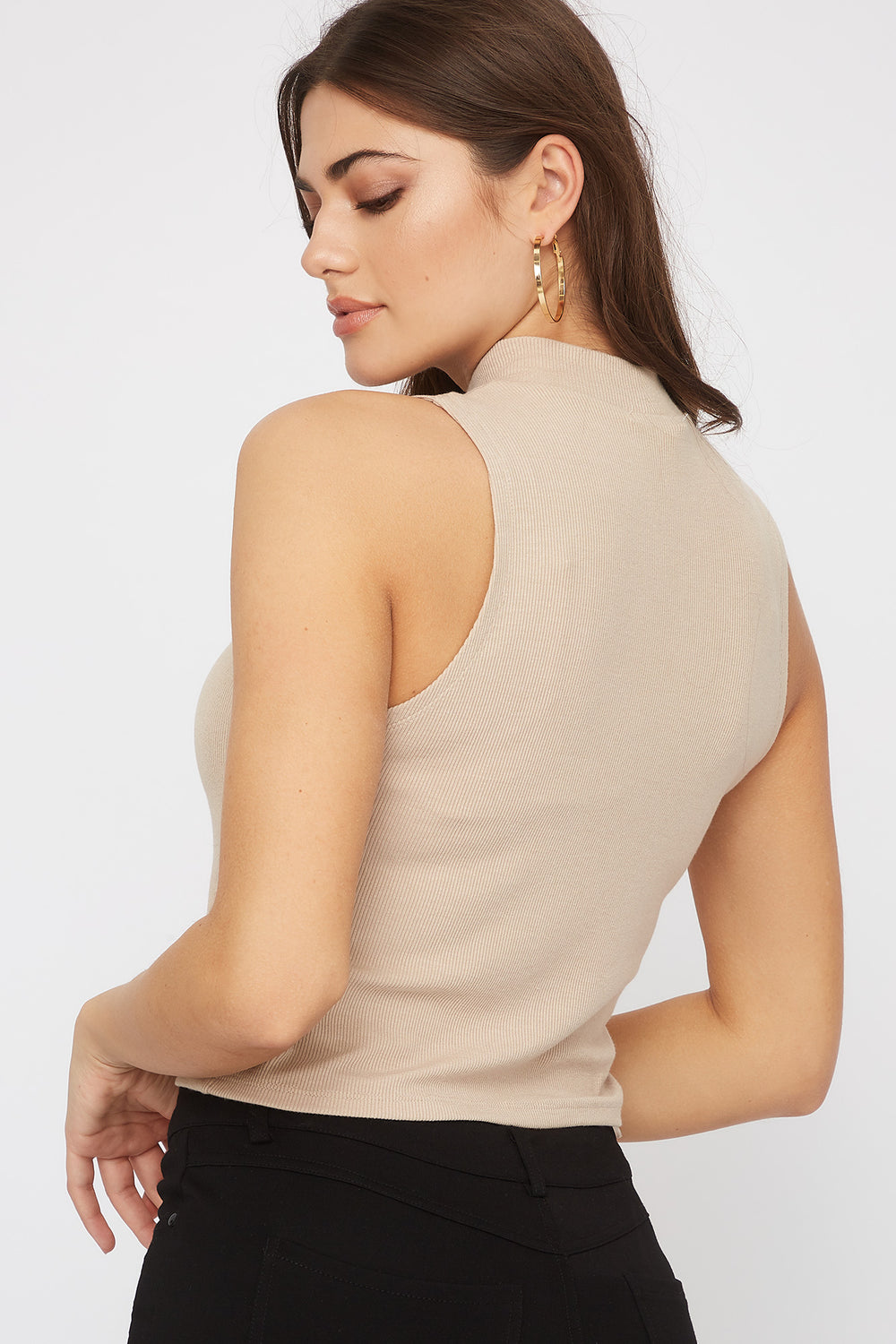 Sleeveless Ribbed Mock Neck Top Beige