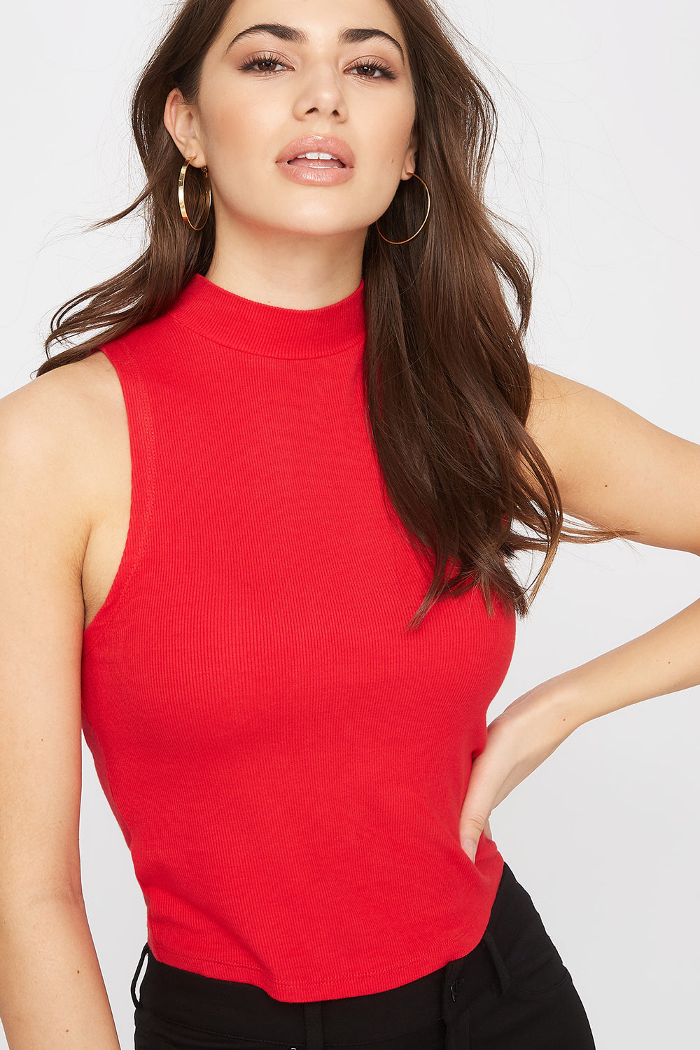 Sleeveless Ribbed Mock Neck Top Red