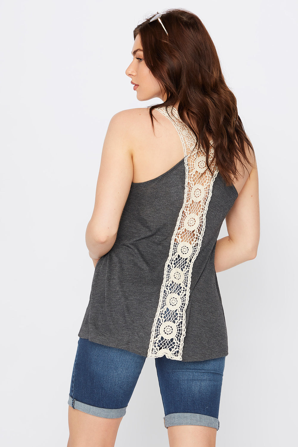 Scoop Neck Crochet Tank Charcoal