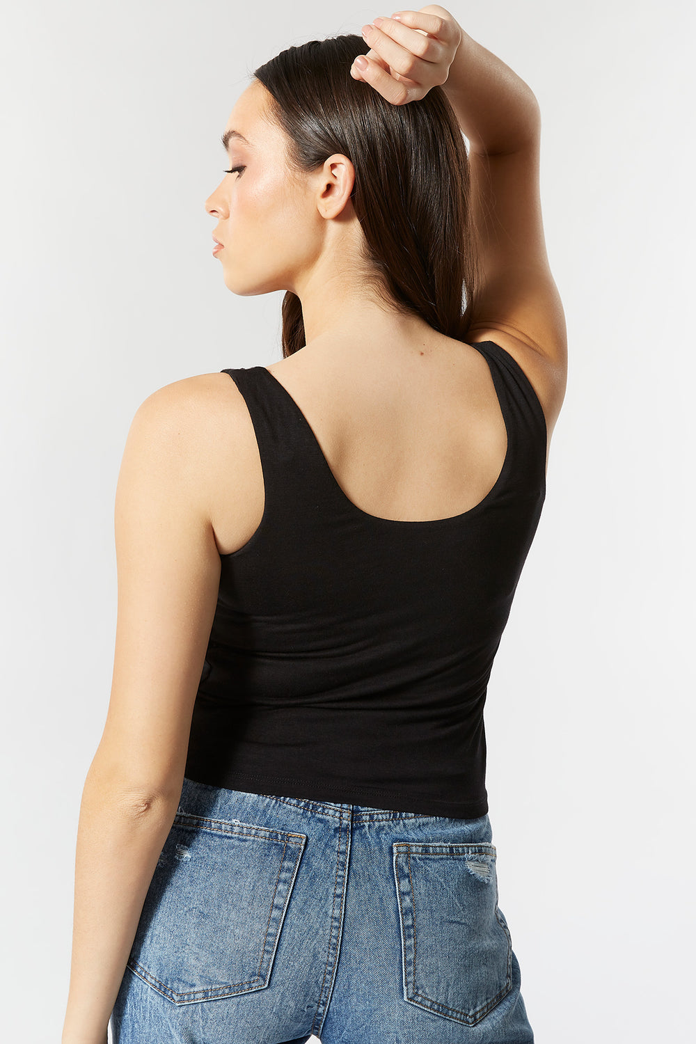 Double Lined Scoop Neck Tank Black